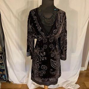 Hale Bob deep v silk blend velvet burnout dress xs